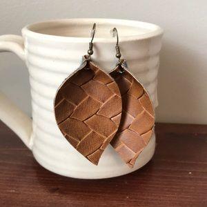 Faux leather basket weave petal earrings